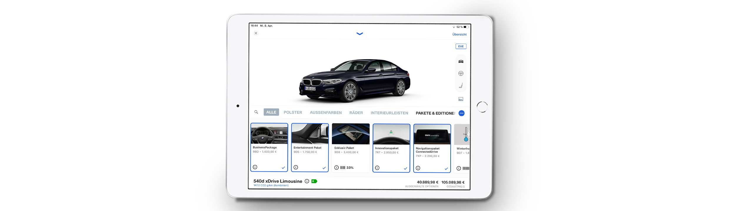 BMW Customizer Screenshot in iPad
