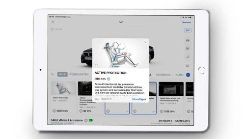Abbild des Konfigurationsscore in der BMW Customizer App
